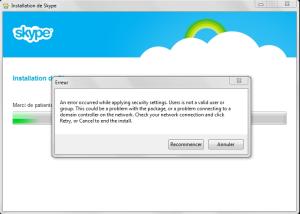 Erreur installation skype